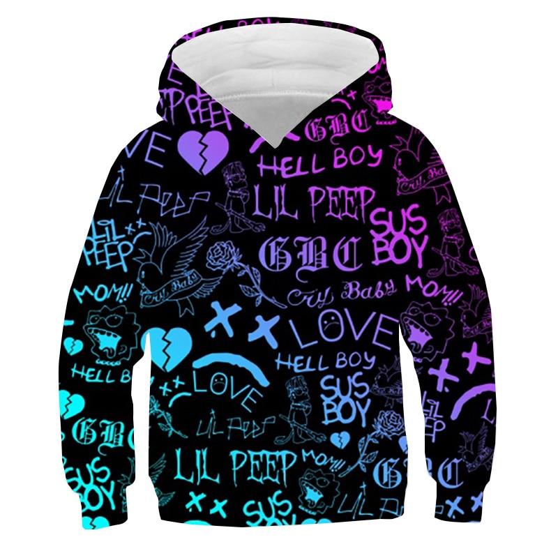 Lil Peep Heart Print Sweatshirt Hoodie